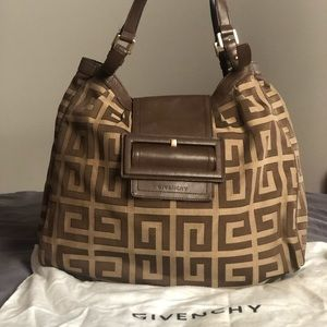 GIVENCHY MONOGRAM CANVAS AND LEATHER HANDBAG